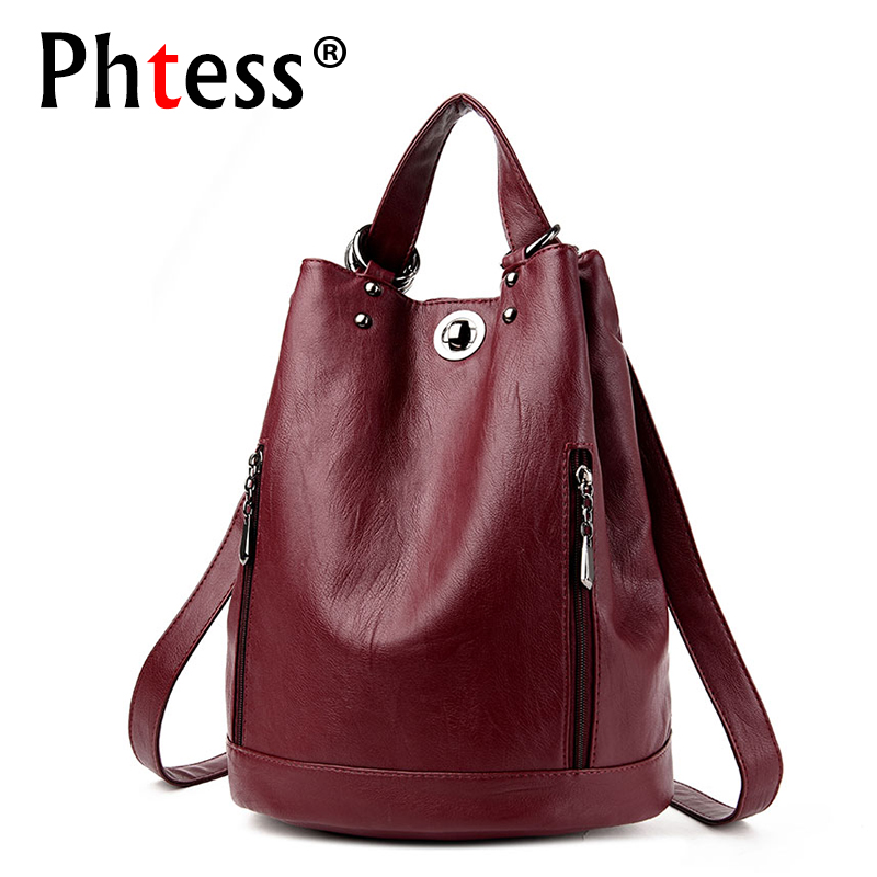 2018 Women Leather Backpack Mochila Escolar School Bags Backpack For Teenagers Girls Multifunction Shoulder Bags Sac a Dos Femme