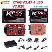 KESS V2 V2.47 V5.017 EU Red ECM Titanium Winols KTAG V7.020 4 LED Online Master Version ECU OBD car/truck Programmer tool