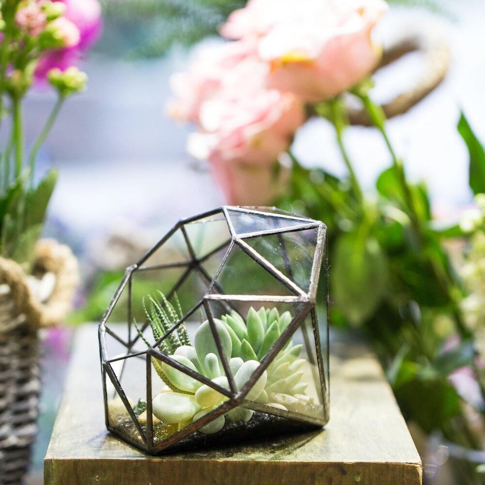 Récipient de décoration de table moderne forme de diamant à huit surfaces jardinière de Terrarium en verre géométrique plantes succulentes Pot de fleur