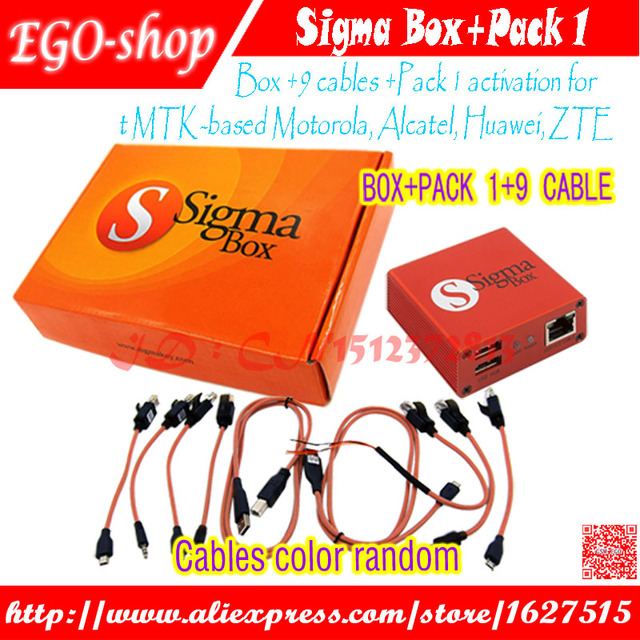 newest version sigma box with 9 cables with Pack 1 activation for t MTK-based Motorola Alcatel Huawei ZTE and for Lenovo