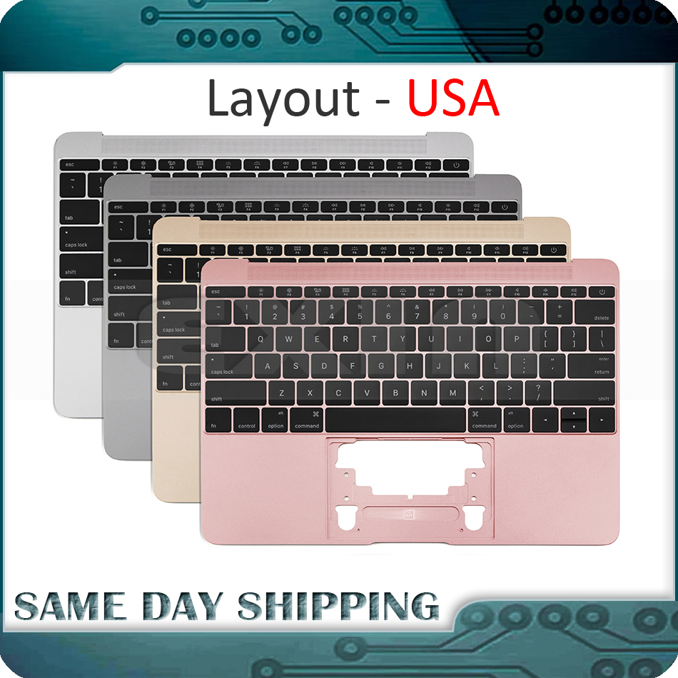 Gold/Gray Grey/Silver/Rose Gold Color For Macbook 12'' A1534 US English USA Topcase Palm Rest W/ Keyboard 2015 2016 2017