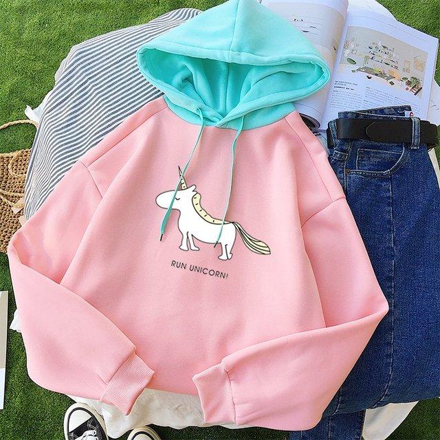 2018 Kawaii Unicorn Print Hooded Autumn Winter New Fashion Women Casual Long Sleeve Harajuku Fleece Patchwork Hoodie Sweatshirt