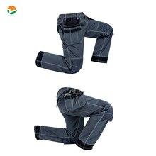 Mens Durable work trousers with eva knee pads black work pant workwear mechanic pant men free shipping