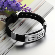 2015 hot sell Punk Rubber Stainless Steel Wristband Clasp Cool Cuff Bangle Men's Black Bracelet 56BY