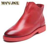 MVVJKE Autumn winter 2018 new short Female Women's boots are a soft bottom shoes size (35 38) of hot blast paint casual leather