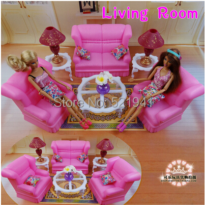 Free Transport,New arrival Reward Youngsters Play Set trend pink front room couch toy Doll Equipment Furnishings For Barbie Doll