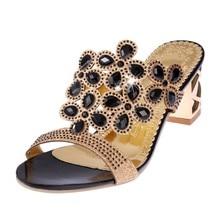 2017 Для женщин с большими стразами с вырезами босоножки на высоком каблуке женские вечерние туфли женские пляжные сандалии размер 35-41