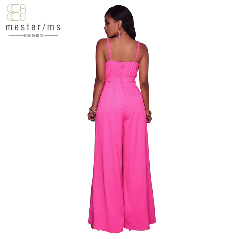 jumpsuits for women 2017 summer jumpsuit beach sexy women v-neck backless jumpsuit Solid Spaghetti Strap long loose jumpsuits