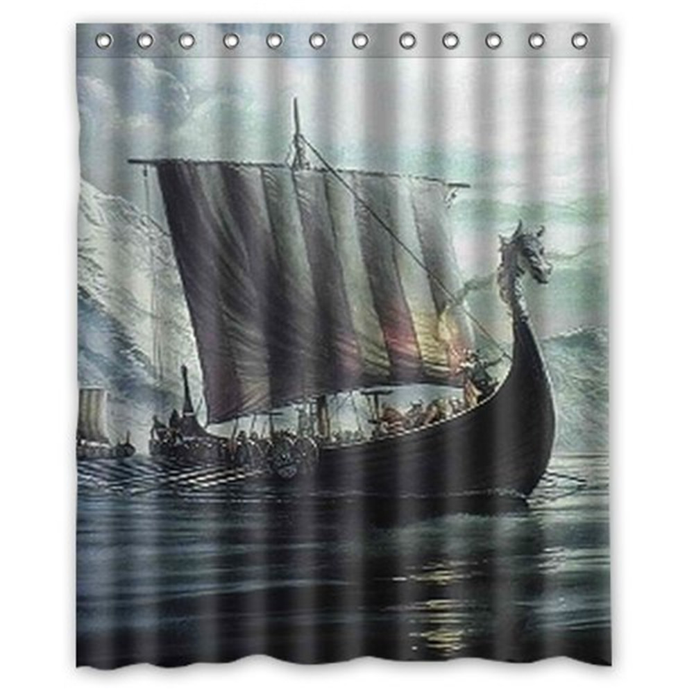 Vintage Viking Dragon Head Ship Background Waterproof Shower Curtain Bath
