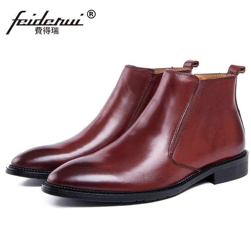 High Quality High-Top Man  Shoes Male British Designer Genuine Leather Pointed Toe Luxury Mens Cowboy Ankle Boots VK67High Quality High-Top Man  Shoes Male British Designer Genuine Leather Pointed Toe Luxury Mens Cowboy Ankle Boots VK67