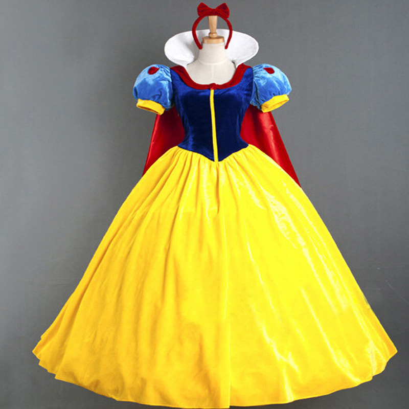 Princess snow white cosplay costume headband cloak fancy dress snow white costume women Carnival Halloween Costumes petticoat
