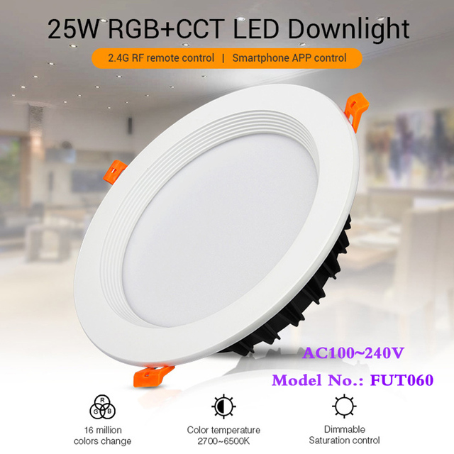 25W RGB+CCT recessed indoor led ceiling Downlight dimmable AC100~240V hole size 200~210mm Compatible with 2.4G RF remote control