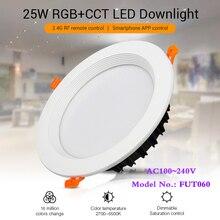 25W RGB + CCT wpuszczana sufitowa lampa led do wnętrz Downlight możliwość przyciemniania AC100 ~ 240V rozmiar otworu 200 ~ 210mm kompatybilny z 2.4G RF pilot zdalnego sterowania