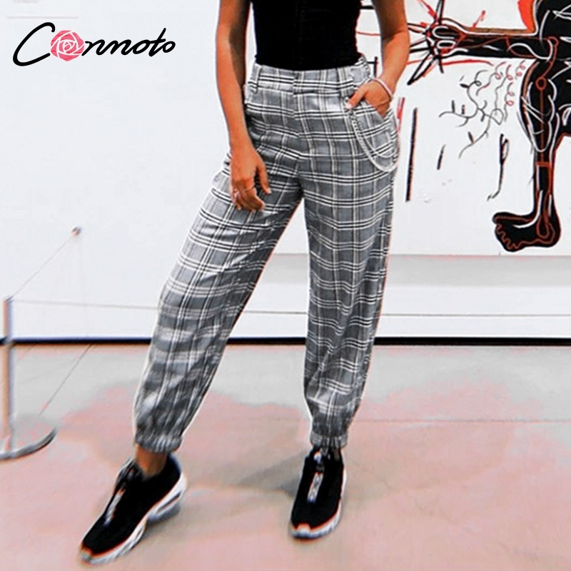 Conmoto Casual Plaid Metal Chain Cargo   Pants   High Street Fashion Harem   Pants   Ankle-Length Trousers Loose   Pants     Capris   Women