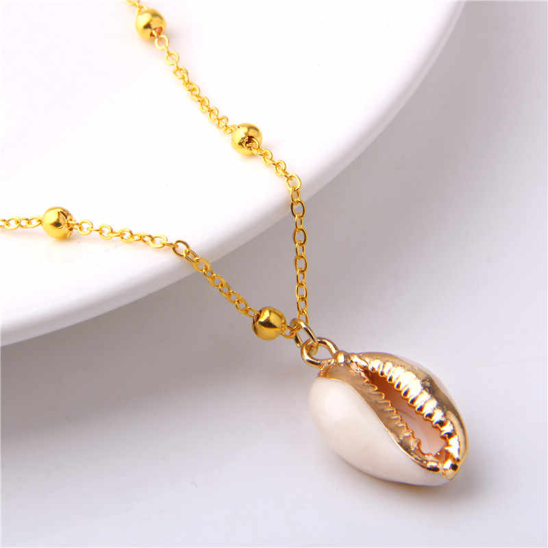 Vinswet Fashion SeaShell Pendants Necklaces Gold Color Women Sea Beach Boho Shells Necklace Summer beach hawaii Jewelry 2019
