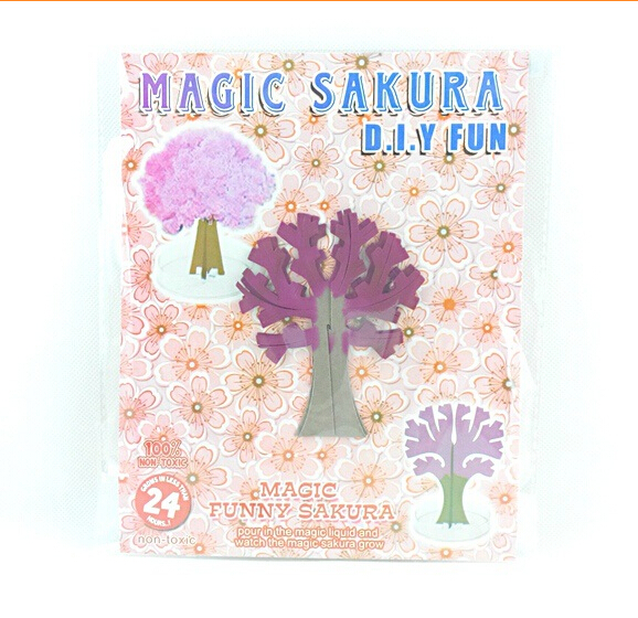Купить с кэшбэком 2019 90mm H ThumbsUp!Magic Japanese Sakura Tree Desktop Cherry Blossom-Brand Hot Made in Japan Pink Mystic Paper Trees Baby Toys