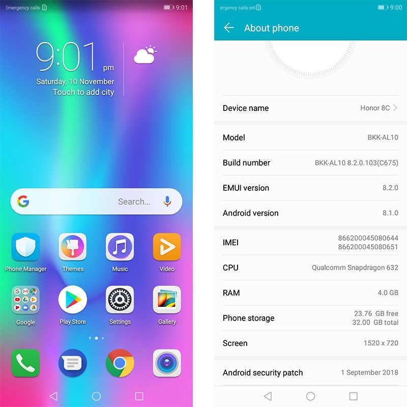 8c Honor 8c 3 Slot Gezicht Id 6.26 Inch Snapdragon 632 Octa Core Front 8.0MP Dual Achteruitrijcamera 4000 Mah