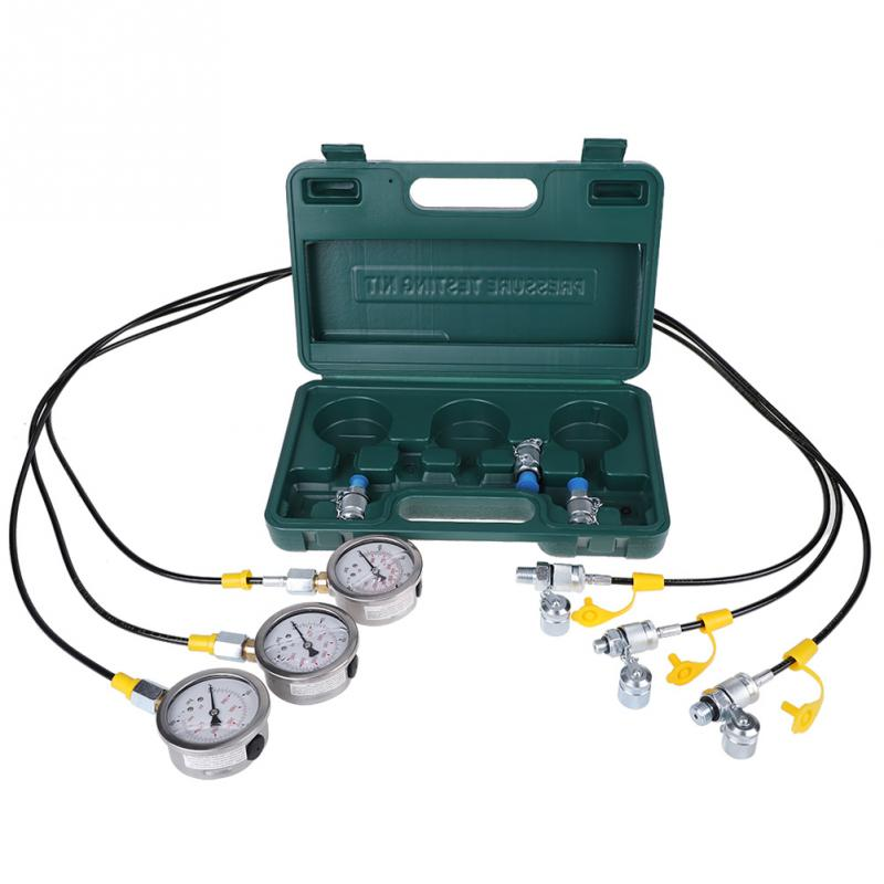 Excavator Hydraulic Pressure Test Kit with Testing Hose Coupling and Gauge Tools Accessory