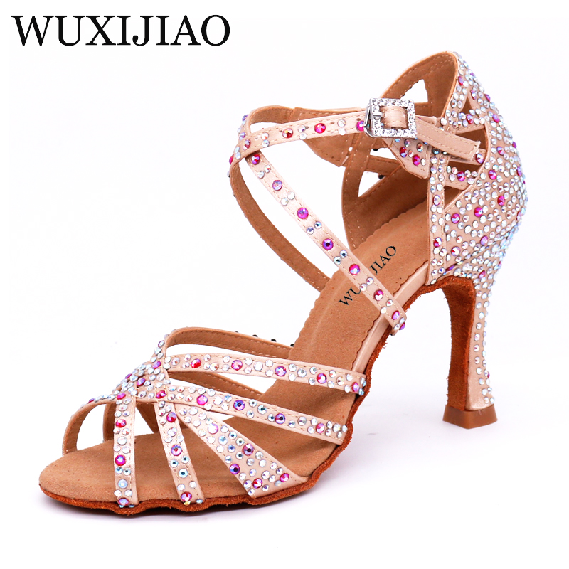 WUXIJIAO Women Salsa Party Ballroom Shoes Latin Dance Shoes Big Small Rhinestone Shining Bronze Skin Black Satin  Cuba Heel 9cm