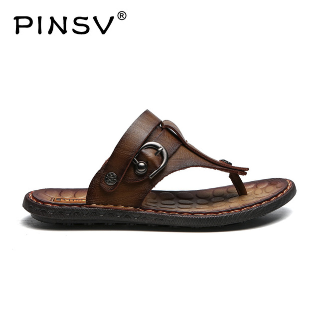37e7d0f043e87 PINSV Men Fashion Sandals Summer Men's Slippers Leather Shoes Beach Casual  Breathable Home Slippers Men Shoes Flip-Flops Zapatos