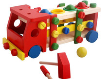 New wooden toy blocks Disassembly Assembly Screw Vehicle baby educational Free shipping