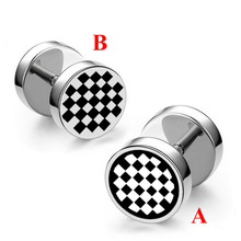 Enamel Black White Chess board Stud Earrings for Man Punk Six-star Earrings Stainless Steel Jewelry sell one piece one piece 6 dental contraster oral black background board photography six types for choose