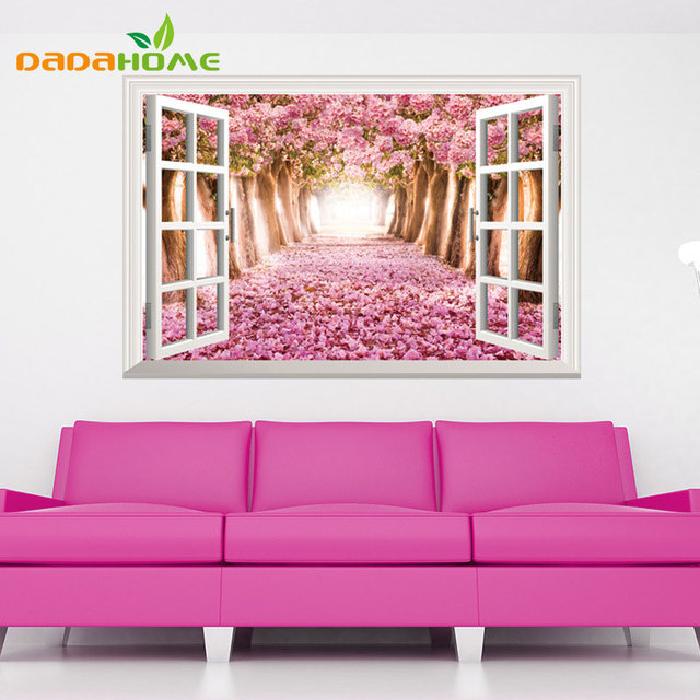 DIY Mural Fake Window SakuraTrail Bedroom Living Room Sofa ...