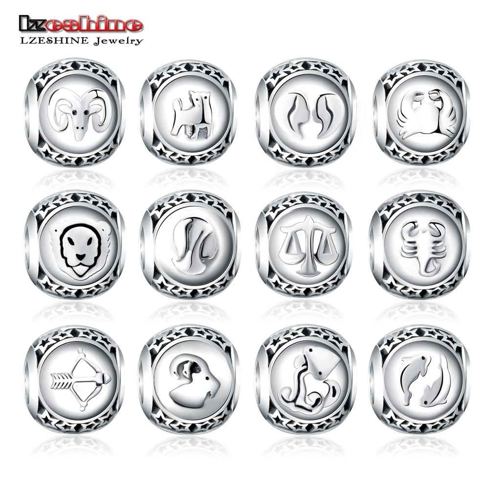 LZESHINE 925 Sterling Silver Beads Twelve Constellations Accessories Zodiac Bead Charm Fit Original Pandora Brand Bracelet все цены
