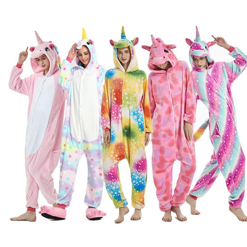 2019 Winter Animal Pajamas Stitch Unicornio Sleepwear Pink Unicorn Sets Kigurumi Women Men Unisex Adult Flannel Panda Nightie