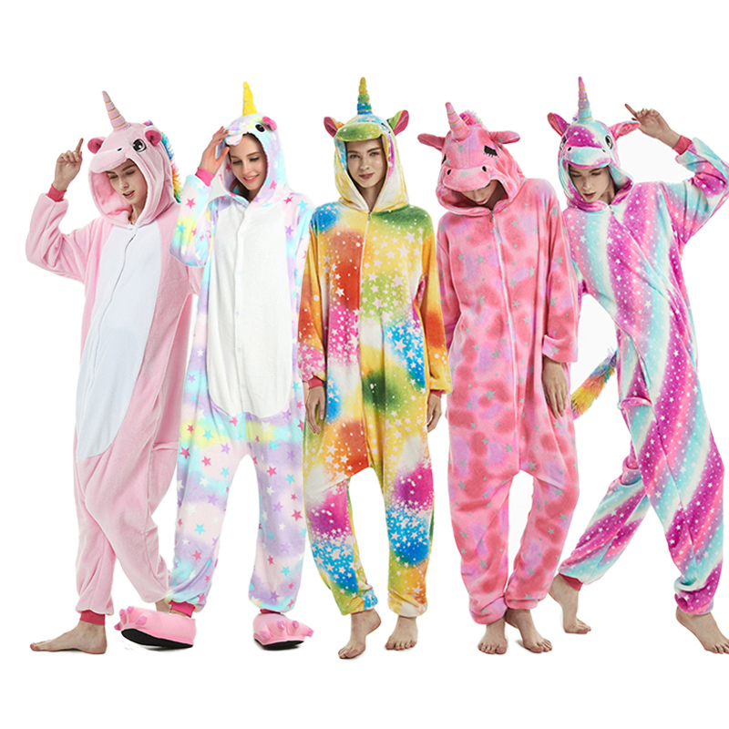 Pijama Animal de invierno 2018 puntada unicornio ropa de dormir Rosa unicornio conjuntos kig mujeres hombres Unisex adulto franela panda camisón