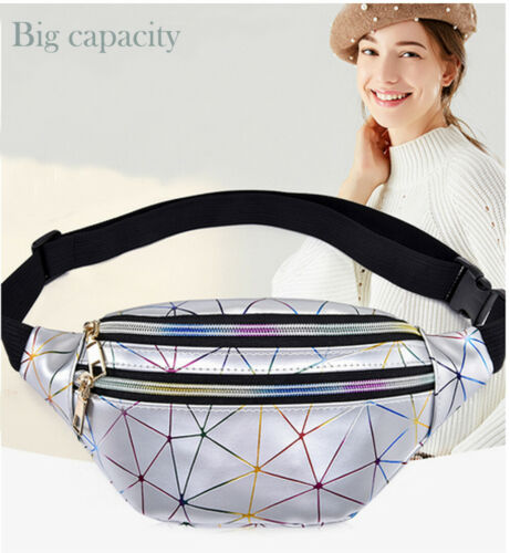 2019 Women Belt Bag Black Geometric Waist Packs Laser Chest Phone Pouch Chest Bag Shoulder Purse Waist Bag Women Small Belt Bag
