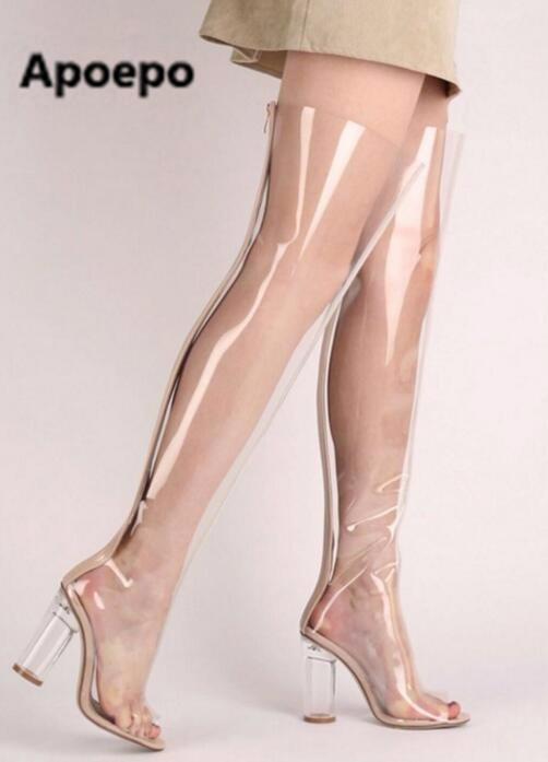 Selling brand Hot selling open toe PVC transparent over the knee boots Summer thigh high boots for woman thick heels long boots