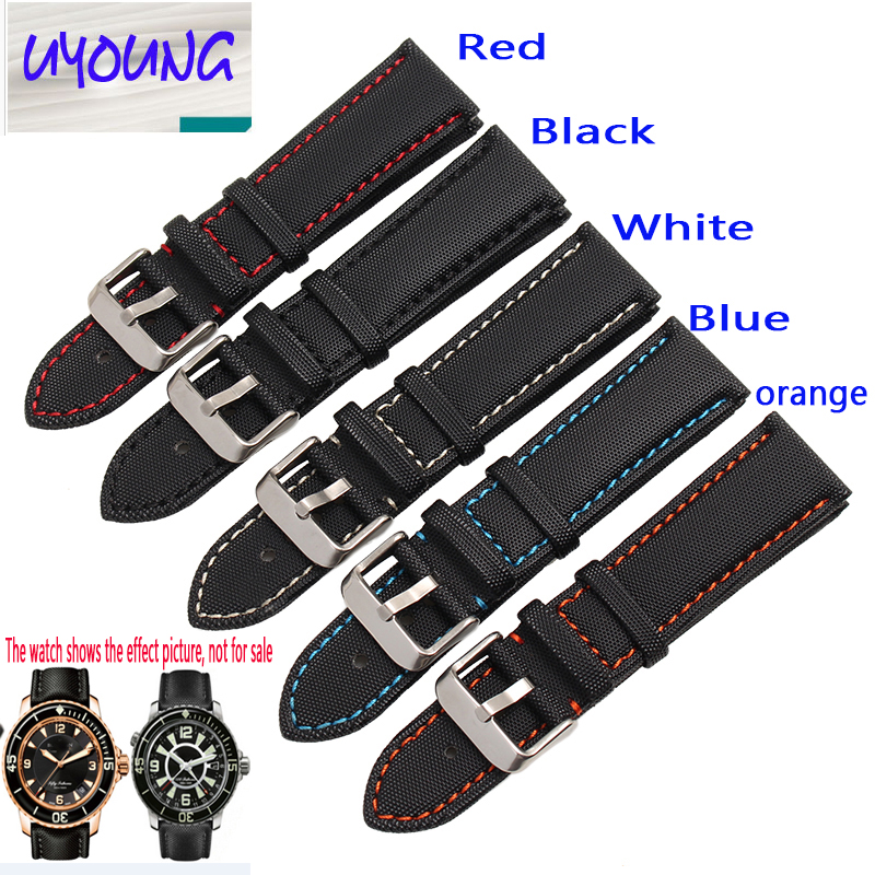 UYONG carbon fiber nylon band For fifty 20 21 mm black red, blue and orange General flat mouth style strap universal nylon cell phone holster blue black size l
