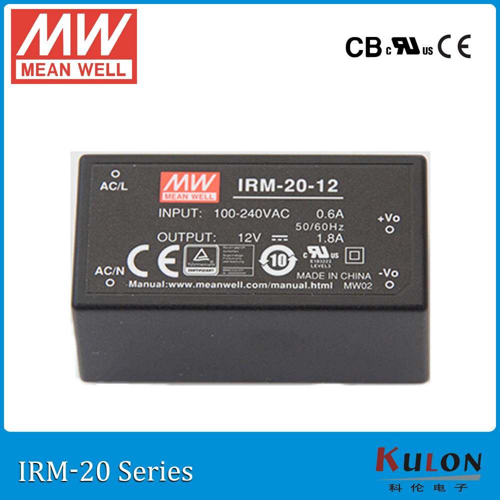 Original MEAN WELL IRM-20-12 single output 1.8A 12V 20W encapsulated meanwell power supply IRM-20 genuine mean well irm 60 12st 12v 5a meanwell irm 60 12v 60w screw terminal style