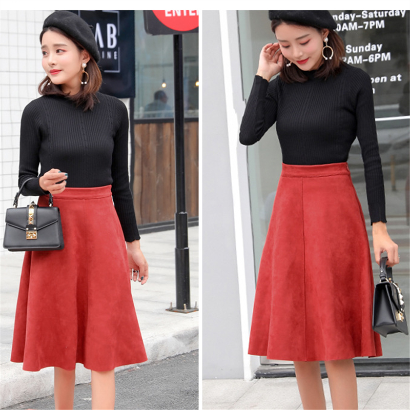 Neophil Women Suede High Waist Midi Skirt Winter Vintage Style Pleated Ladies A Line Black Flare Skirt Saia Femininas S1802 #2