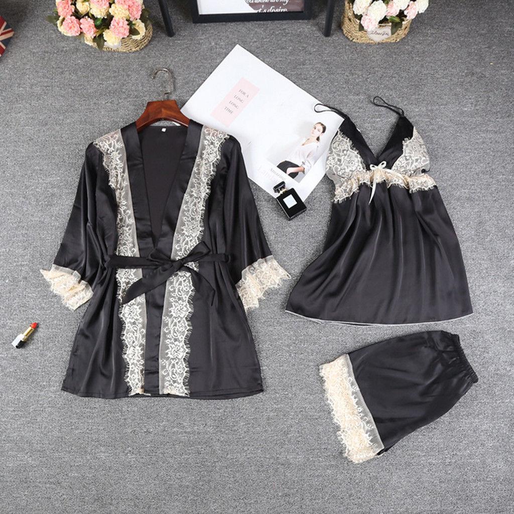 Womens Satin Lace Sleepwear   pajamas     set   Lingerie bridesmaid robes Babydoll Shorts Nightwear Pjs   Set   nighty peignoir femme