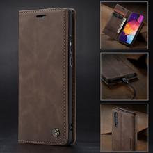 Роскошный застежкой кожаный чехол для Samsung A50 A 50 чехол бумажник с карманами для карт дизайн Бизнес Винтаж книга для Galaxy a50 чехол на самсунг а50