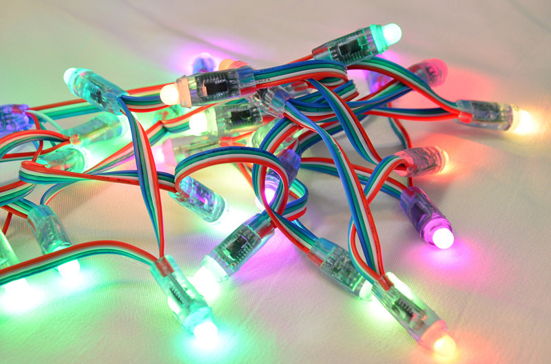 Free Shipping 50pcs/lot 5V 12mm WS2801 Full Color RGB Pixel LED Module Light IP68 String Lamp