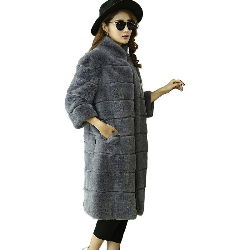 Veste Lapin Femmes Manteaux De Hiver Manteau Grey Rex Fourrure Taille Plus Survêtement navy La black red Luxury Vf4055 Trench Real Automne 5xl 4xl wSxPYqPzE