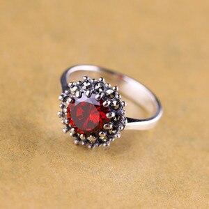 Image 1 - Véritable pur anneau 925 en argent Sterling Simple mode femmes anneaux naturel grenat pierre Fine bijoux Anillo Compromiso