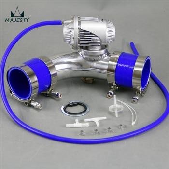 Tubo in silicone kit BLU + SQV Blow Off Valve BOV IV 4 + 2.36 ''60mm 90 gradi Flangia del Tubo