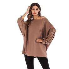 цена на T Shirt Women Loose Plus Size Bat Sleeve T-shirt Female Solid Color O-neck Strapless Tee Shirt Femme Long Sleeve Women Clothes