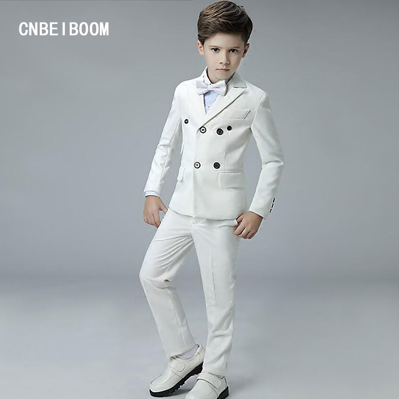 White Baby Boys Party Wedding Suits 4 Pieces Formal Tuxedo Suit Children Baptism Christening Party Clothing Set For kids 3-12 T student performance clothes children clothing sets boys blazers wedding sets pieces boys tuxedo suits
