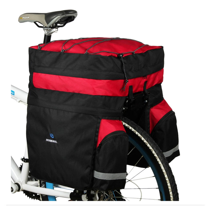 ROSWHEEL Bicycle Carrier Bag 60L Rear Rack Trunk Bike Luggage Back Seat Pannier Two Bags Outdoor Cycling Saddle Storage 14590