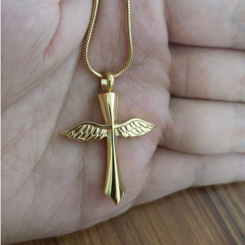 IJD9654 en gros pas cher prix en acier inoxydable crémation bijoux pour cendres, ange aile croix souvenir mémorial urne collier - 2