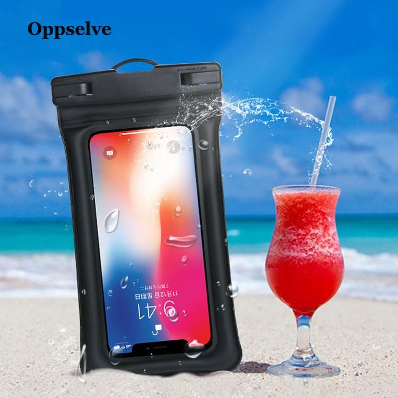 Oppselve Caso 6 ''À Prova D' Água Caso Saco Do Telefone Para o iphone XS Max Xr 8 7 6 6S Samsung Galaxy s9 S8 Plus Nota 9 8 Phone Pouch Dry Bag