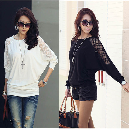 2017 women ladies blousa loose batwing dolman lace long for Full hand t shirts for womens
