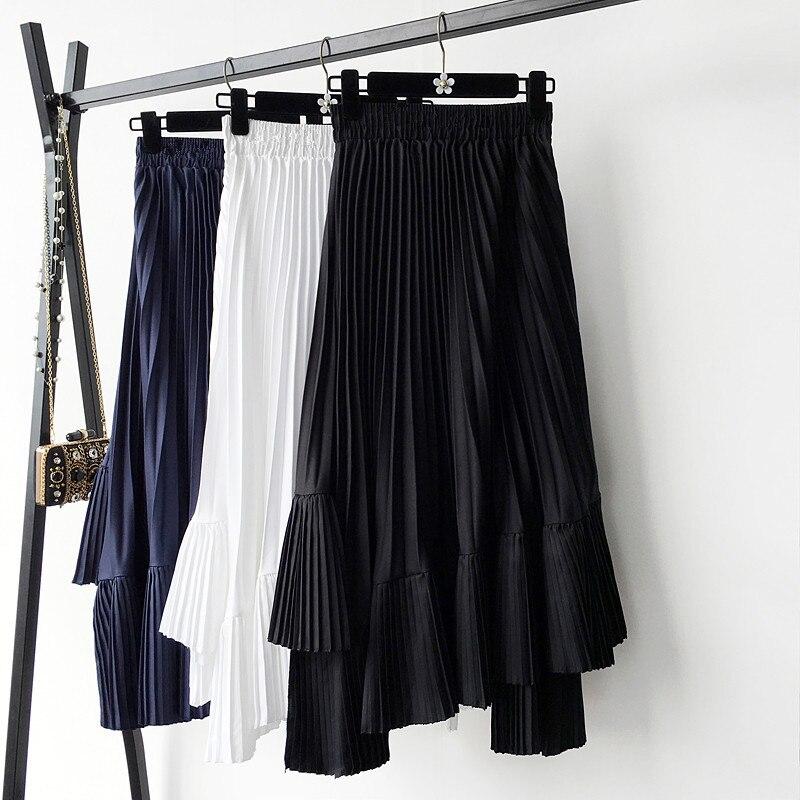 0980 women irregular pleated chiffon bust skirt female spring 2019 new high waist skirts long girl 1