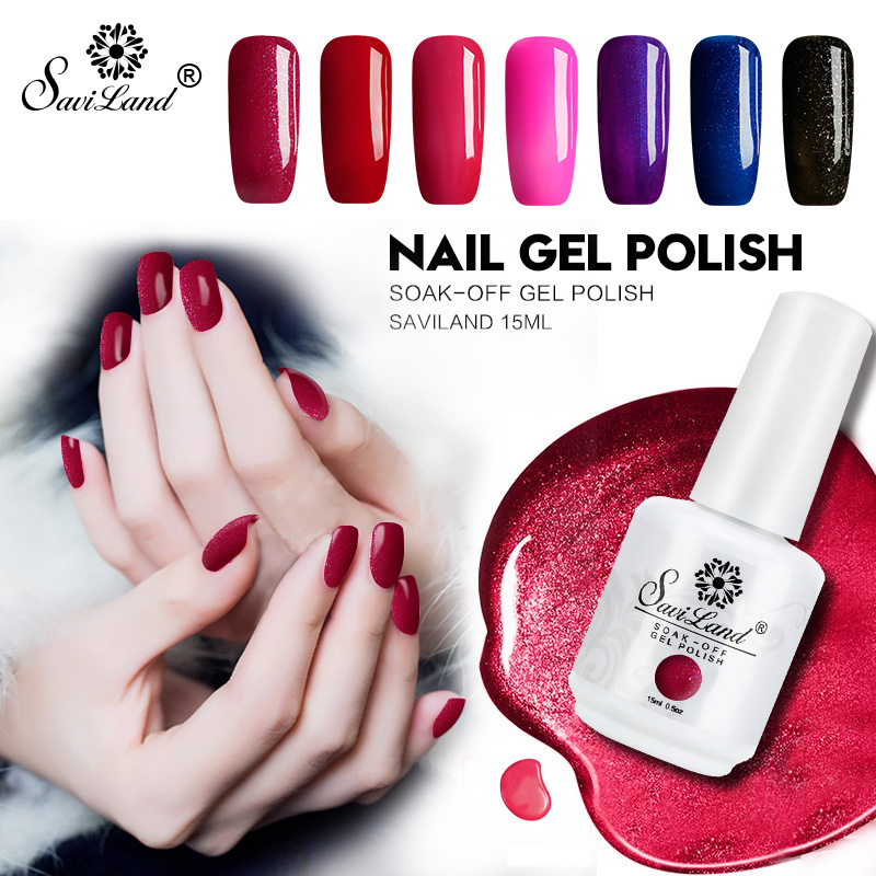 Saviland 1 unids Semi Permanent Gel Nail Polish 3D Glitter profesional Soak Off UV LED Gel Lacquer 58 colores preciosos