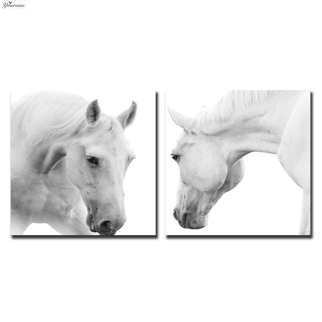 Framed White Horse Wall Art Cuadros decoration posters and prints ...